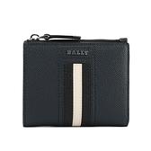 【BALLY】Tunner 黑白條紋拉鍊零錢袋暗釦短夾(深藍色) 6229037 17