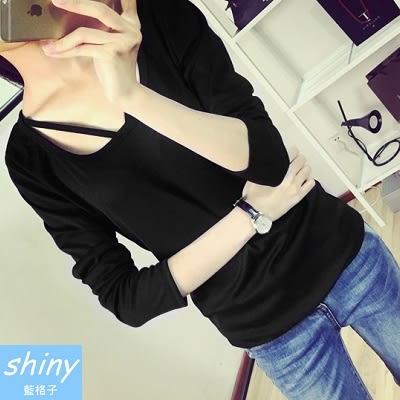 【V271】shiny藍格子-輕尚恬氛.時尚休閒顯瘦修身純色長袖T恤