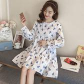 【GZ A3】 2018 最新款 孕婦裝 韓版 時尚 棉 印花 大碼 洋裝
