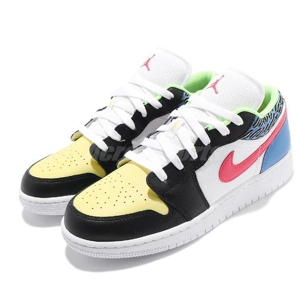 Nike 休閒鞋 Air Jordan 1 Low GS 白 彩色 大童鞋 女鞋 Funky Patterns 喬丹 AJ1 【ACS】 DH5927-006