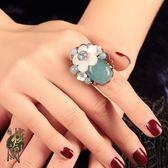 古風中國風戒指食指貝殼花朵復古小清新開口可調節指環手飾品女 IV3170 【大尺码女王】