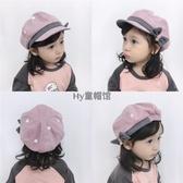 女童春秋季新款貝雷帽小孩可愛蝴蝶結公主帽韓版寶寶百搭時尚帽子