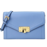 【南紡購物中心】MICHAEL KORS KINSLEY穿釦素面三折斜背包-法國藍