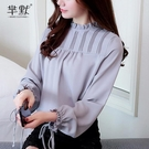 (促銷全場九折)雪紡襯衫女裝秋款新款韓版上衣洋氣很仙的時尚歐貨襯衣小衫潮