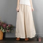 中國風復古文藝棉麻闊腿褲女 民族風裙褲雙層紗寬鬆休閒瑜伽褲 萬聖節鉅惠