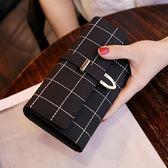 女士錢包女 長款磨砂 日韓版大容量多功能三折女式錢夾皮夾手拿包  韓風物語