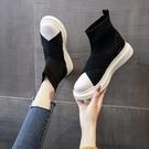 鞋子女夏季薄款2020年秋季新款百搭透氣襪子鞋短靴彈力靴厚底女靴 後街五號