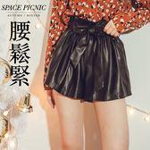 短褲 Space Picnic|素面腰鬆緊內磨毛短皮褲-附腰帶(現貨)【C18121042】
