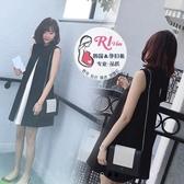 孕婦寬鬆a字裙簡約黑白拼色連身裙 蝴蝶結無袖背心孕婦寬鬆a字裙 交換禮物