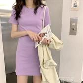 原宿夏季新款短袖中長款t恤裙洋氣修身香芋紫色上衣女裝時尚ins潮 米娜小鋪
