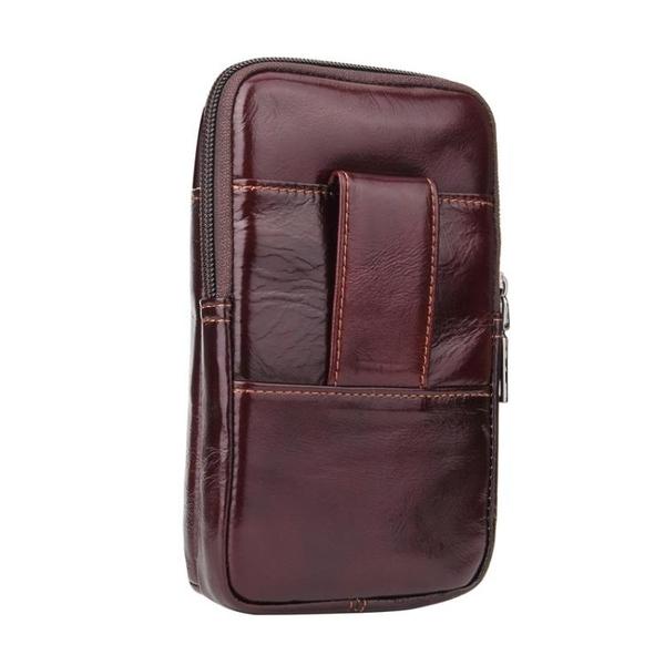 手機配件 多功能拉鏈包頭層牛皮蘋果三星手機套腰包通用6.3寸真皮皮帶掛包手機殼 手機套 皮套