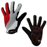 【速捷戶外】WELL FIT 威飛客 全指自行車手套(紅), 自行車專用手套