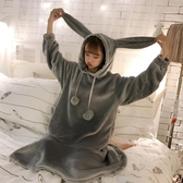 春季新款韓版可愛兔耳朵連帽法蘭絨睡衣洋裝荷葉邊家居服睡裙女 美芭