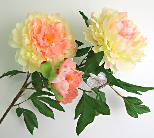 [香檳色] 仿真3頭大牡丹花 假牡丹 芍藥 人造花花束 ~~ 插花.居家.店面.櫥窗擺飾.園藝