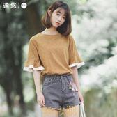 迪悠2018夏季新款韓版條紋顯瘦短袖女t恤上衣