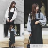 背帶裙兩件套女2020秋冬新款韓版中長款寬鬆大碼洋裝套裝 韓慕精品