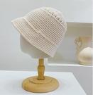 大頭紫色針織帽子水桶帽女韓版日系百搭ins顯臉小鏤空毛線漁夫帽一米陽光