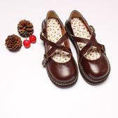 新款日系復古圓頭娃娃鞋學院風搭扣松糕底鞋小清新可愛圓頭女鞋