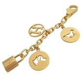 HERMES 愛馬仕 H字及小狗與馬兒及鎖頭鍍金鑰匙圈 吊飾 Charm Bracelet 【BRAND OFF】