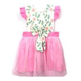 【BlueCat】樹葉粉花粉色紗裙 兒童圍裙