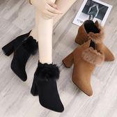 粗跟短靴新款女鞋加絨靴子翻毛皮焦糖色尖頭裸靴女高跟 初語生活igo