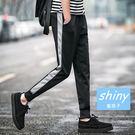 【Y052】shiny藍格子-運動風.韓版潮男彈力運動休閒哈倫束腳長褲