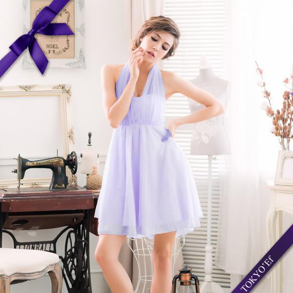 東京衣服 蘿莉公主 深V夢幻抓紗 繞頸蝴蝶結美背小禮服 粉紫
