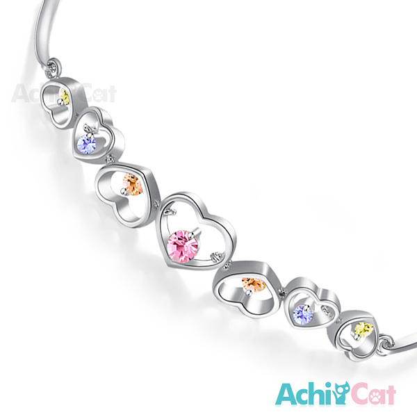 AchiCat 手鍊 正白K 繽紛愛戀 銀色彩鋯款 B310