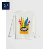 Gap男幼童全棉創意印花設計圓領長袖T恤496430-光感亮白