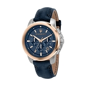 【Maserati 瑪莎拉蒂】SUCCESSO格紋面盤日期真皮腕錶/R8871621015/台灣總代理公司貨享兩年保固