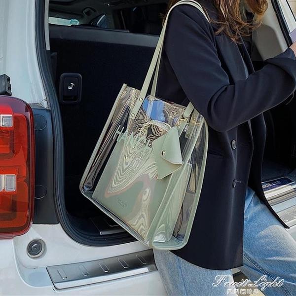 夏天透明包包2020新款潮網紅時尚果凍側背腋下包大容量女包托特包 果果輕時尚