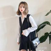 秋裝女裝韓版中長款復古條紋拼接洋裝短裙學生寬鬆長袖襯衫裙子
