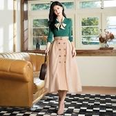 秋冬新品[H2O]綁帶造型絲巾線衫毛衣 - 綠/白/卡色 #0630012
