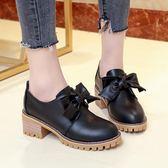 韓版時尚小皮鞋百搭單鞋蝴蝶結學院風休閒鞋女鞋