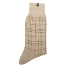 BURBERRY毛料格紋刺繡戰馬LOGO紳士襪(卡其色)088905-102