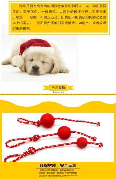 【狐狸跑跑】逗狗遛寵物玩具 天然橡膠手提彈力球 玩具金毛泰迪比熊玩具WJ023013