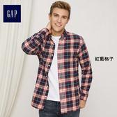 Gap男裝 休閒彩色格子長袖襯衫 357510-紅藍格子