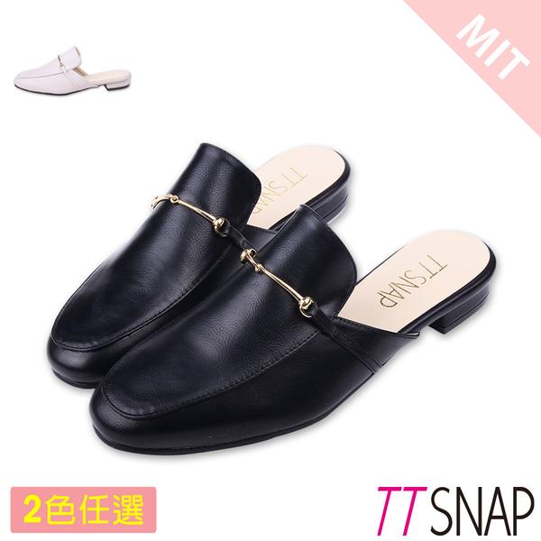 穆勒鞋-TTSNAP 簡約細絲金屬方頭鞋 黑/米