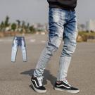 牛仔褲 韓國製漸層刷色噴點抽鬚補丁牛仔褲...