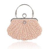 晚宴包-鏈條珍珠鑲鑽戒飾純色女手拿包3色73rk31[時尚巴黎]