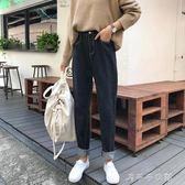 韓版2018春裝新款女裝學生寬鬆顯瘦鬆緊腰牛仔褲高腰小腳窄管哈倫褲潮「千千女鞋」