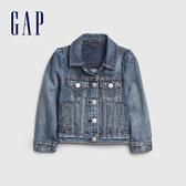 Gap女幼Gap x Disney 迪士尼系列米妮棉質舒適翻領牛仔外套519661-中度靛藍