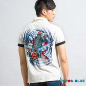 【7折限定】金標精繡鯉魚POLO衫(白) - BLUE WAY 日本藍