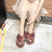 毛毛拖鞋女2019秋季新款韓版百搭平底時尚網紅懶人外穿加絨棉拖鞋 玫瑰