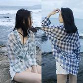 春性感透視格子雪紡防曬衫 寬鬆bf海邊度假中長款長袖襯衫女夏薄  晴光小語