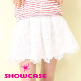 【SHOWCASE】氣質菱形蕾絲花短褶裙(白)