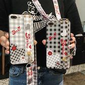 iPhone 7 Plus 全包手機套 方格愛心手機殼 腕帶支架 帶斜跨繩 清新文藝保護殼 矽膠防摔保護套 軟殼