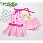 女童泳衣兒童連身公主裙式平角褲粉色泳裝兩件套【步行者戶外生活館】