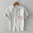 拼色立領亞麻襯衫男短袖寬鬆夏季薄款套頭休透氣棉麻半袖襯衣潮 快速出貨