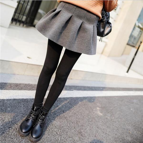 秋冬季加絨加厚假兩件打底褲裙褲純棉外穿薄款女踩腳帶裙子連褲裙1入